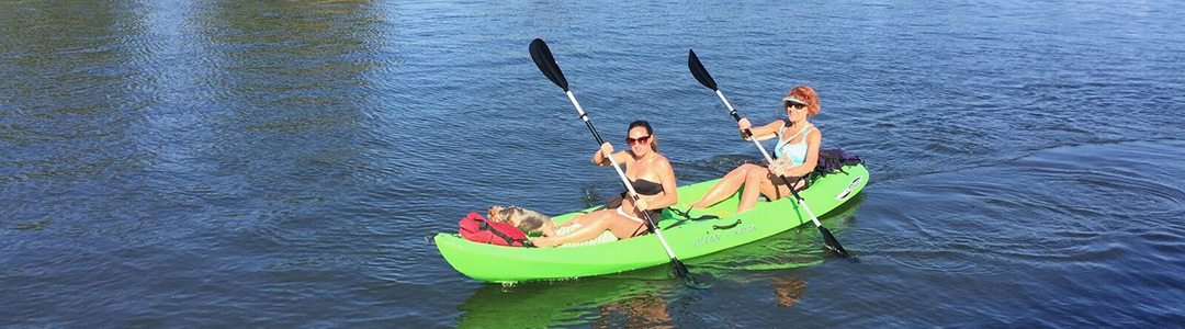 two women on a kayak